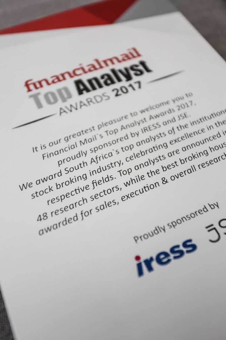 Photo from the Financial Mail Top Analyst Awards in 2017