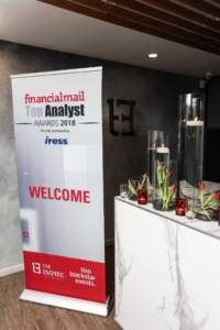 Photo from the Financial Mail Top Analyst Awards in 2018